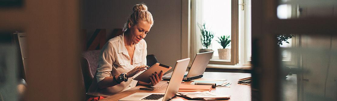 Women working at her desk