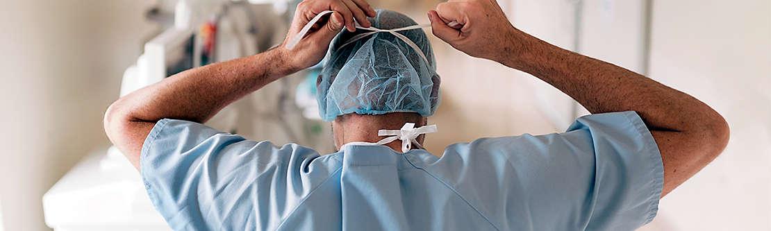 Nurse getting ready for shift