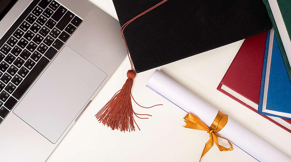 diploma, graduation cap