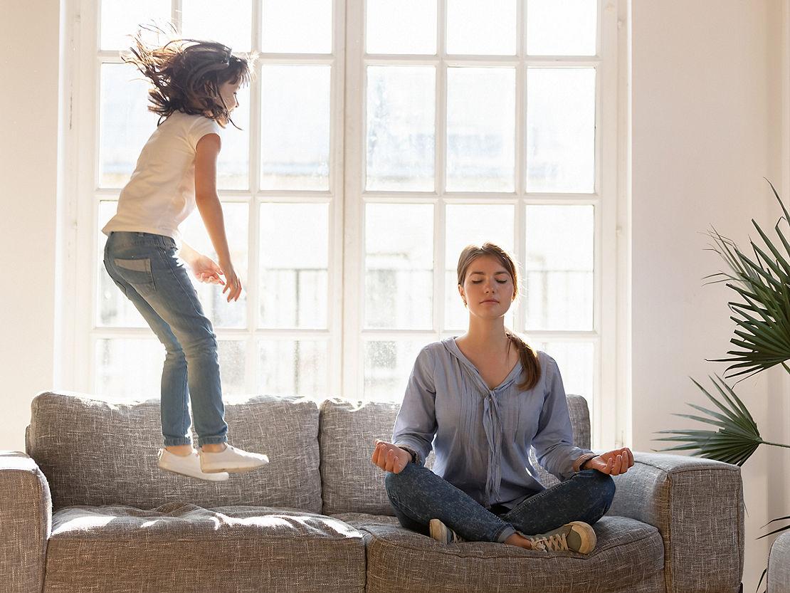 woman meditation under lockdown