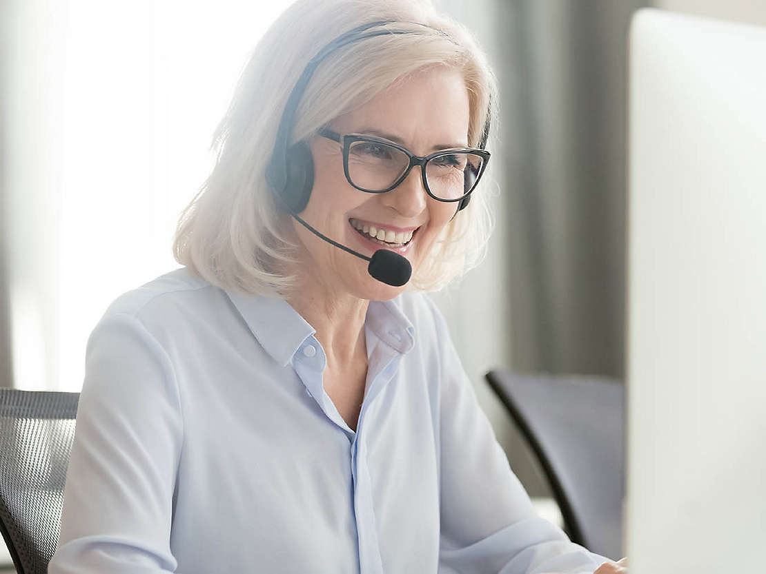 Customer Service Professional on a call.