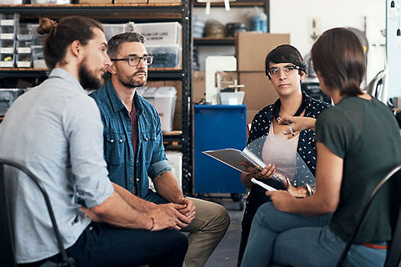 Employees having a meeting.