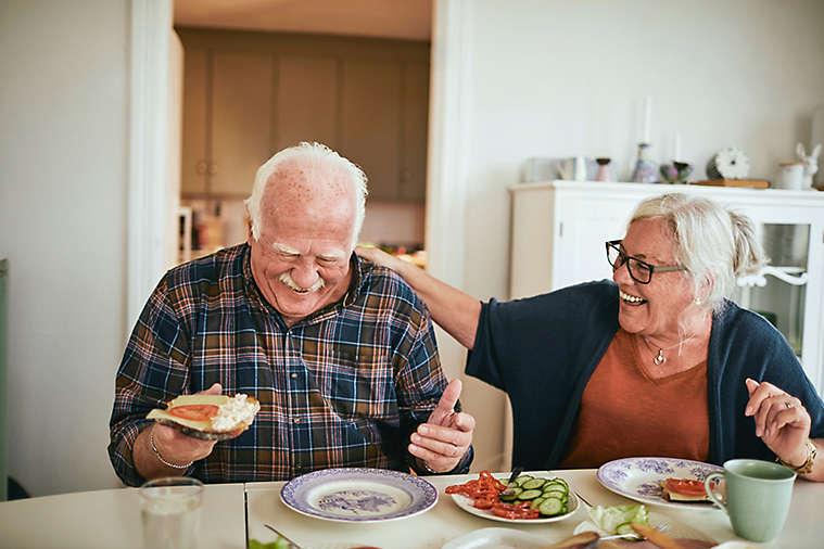 Close up of a senior couple having breakfast