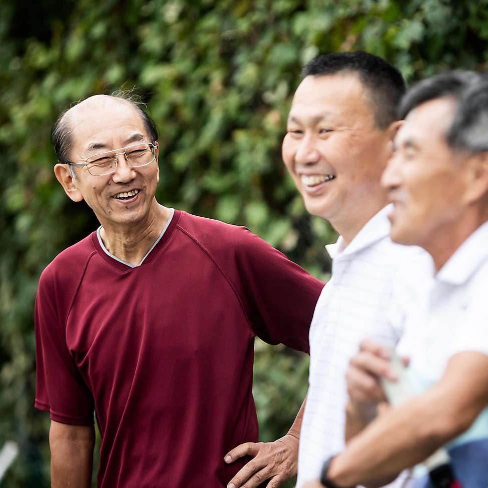 Asian american seniors laughing