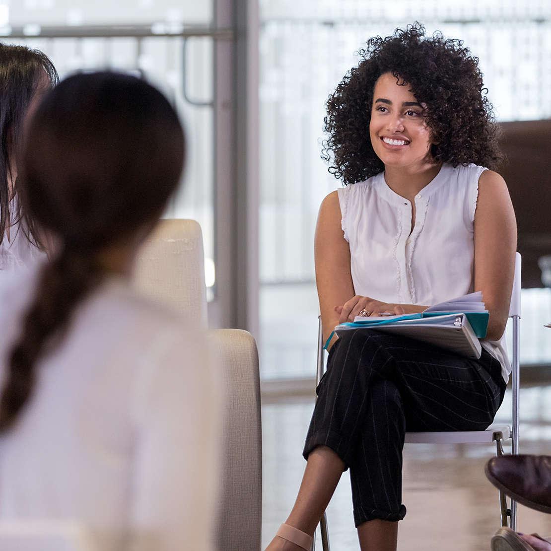 Corporate women talking