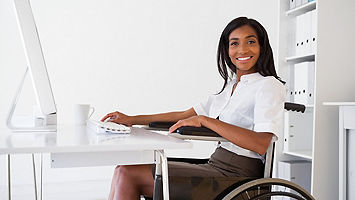 Woman in wheelchair.