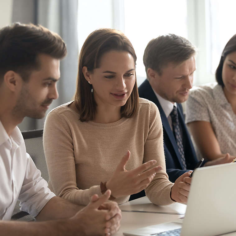 Employees in an office working