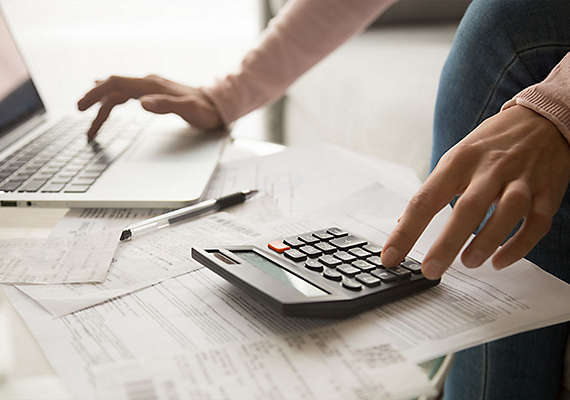 Woman working on her finances.