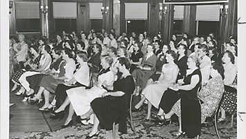 vintage photo of NYLIC meeting of women
