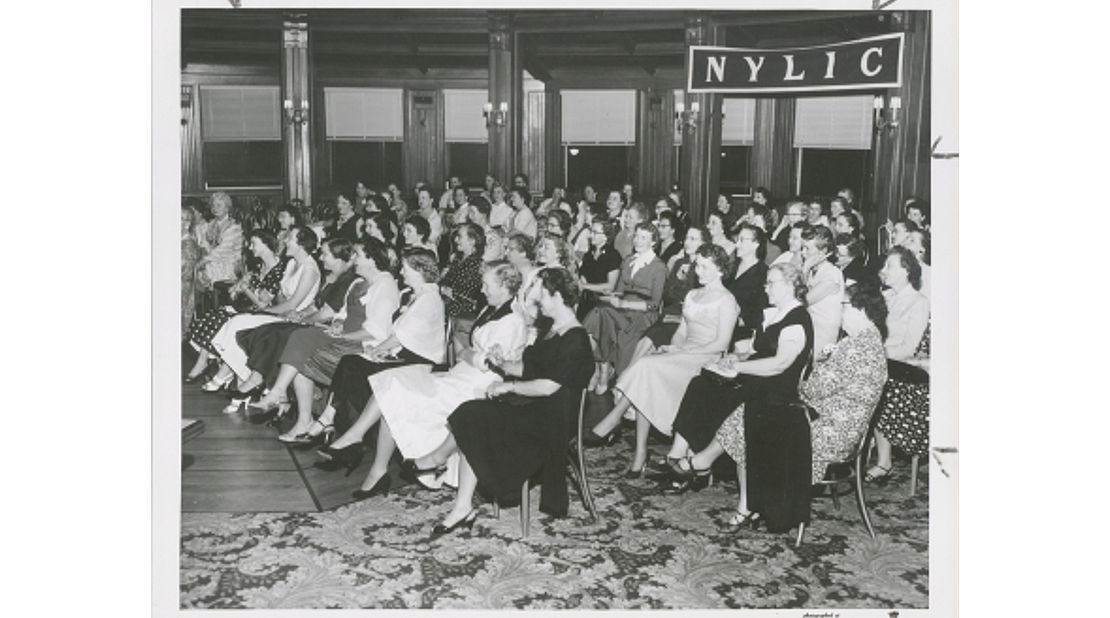 vintage photo of NYLIC meeting of women