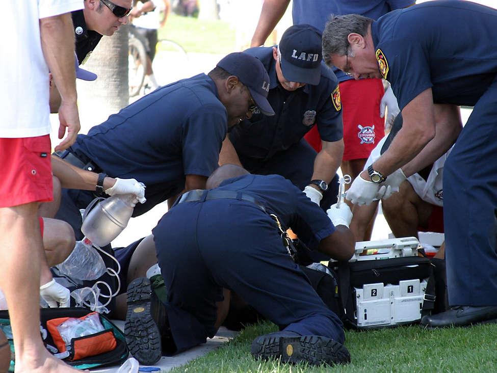 Rescue crew saving life