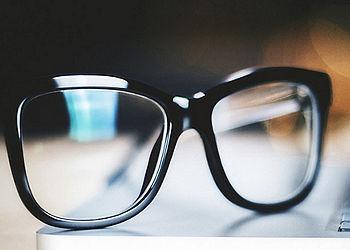 Eye glasses on a laptop