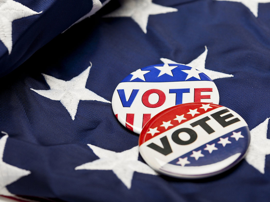 flag and voting pins