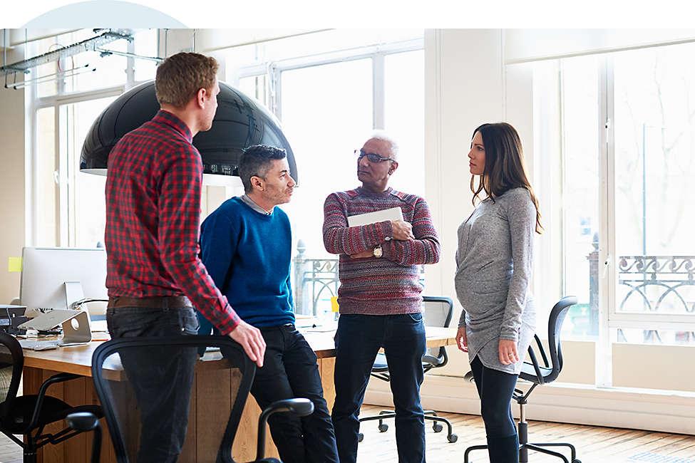Diverse financial professionals meet