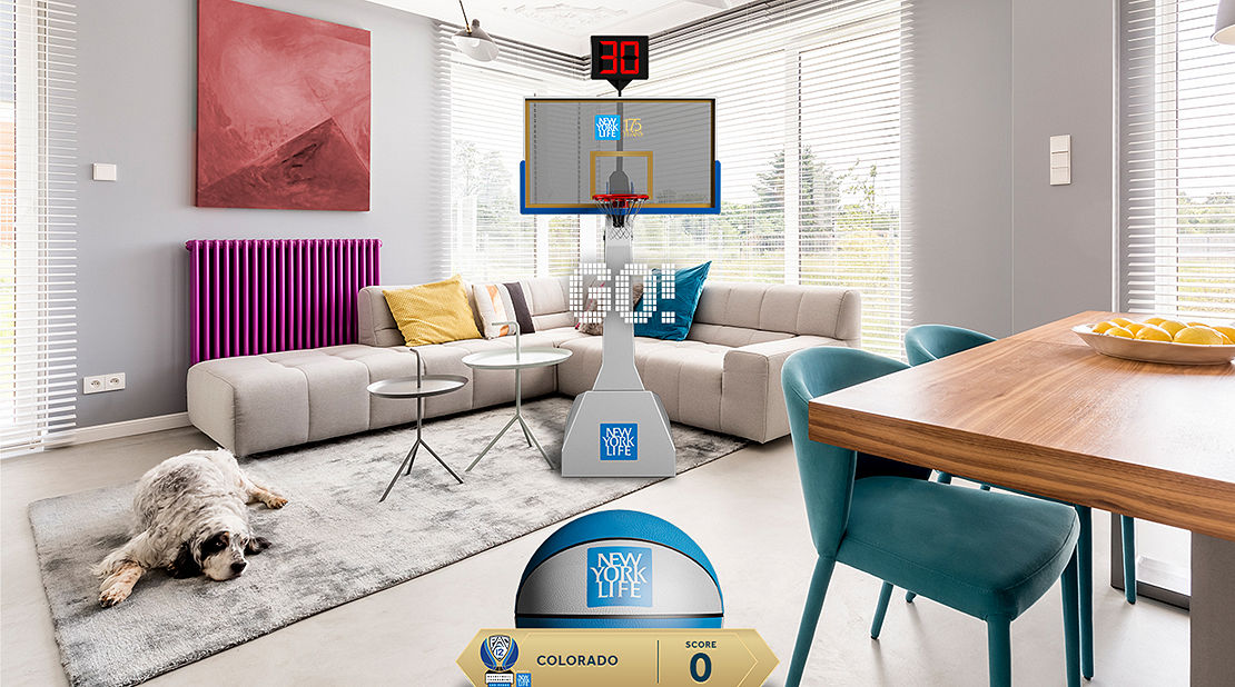 Living room with Boys & Girls Club donation app.