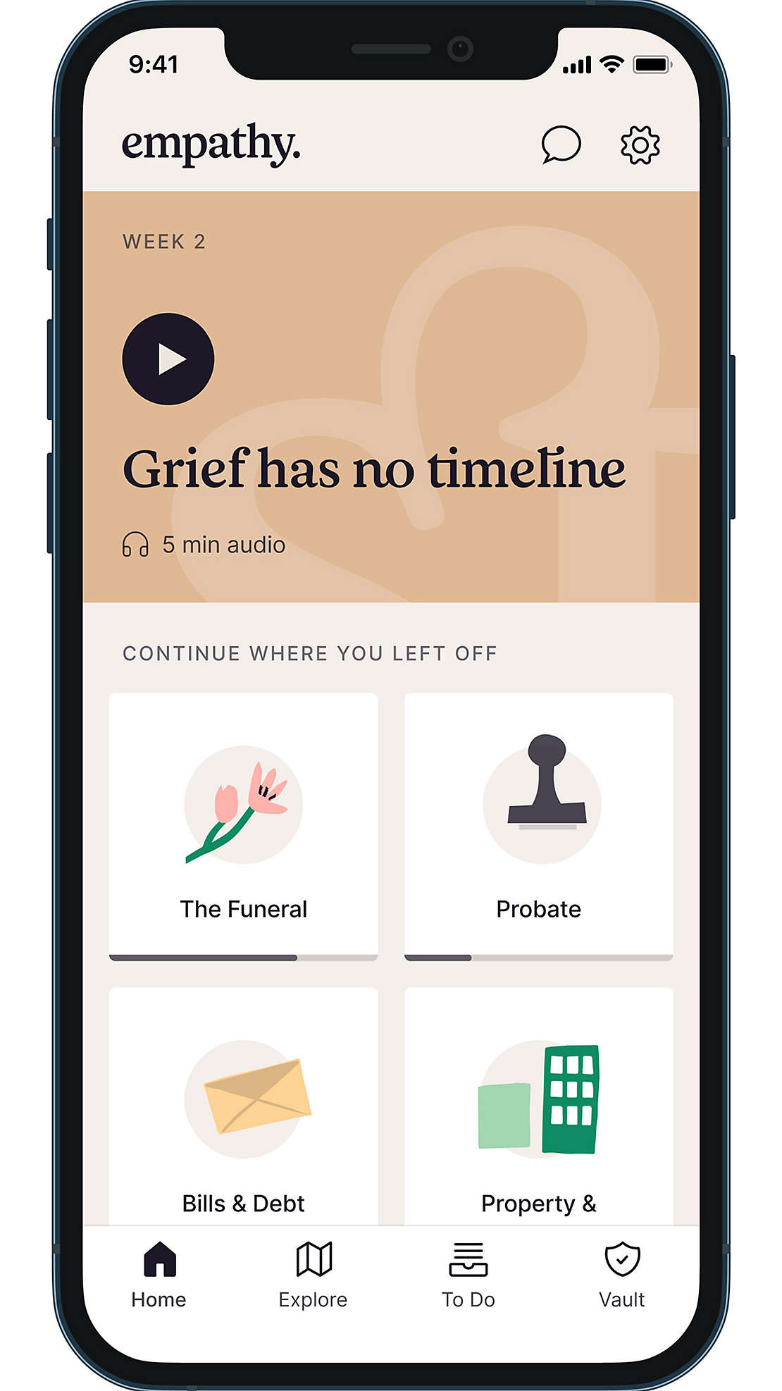 Empathy App shown on a cell phone