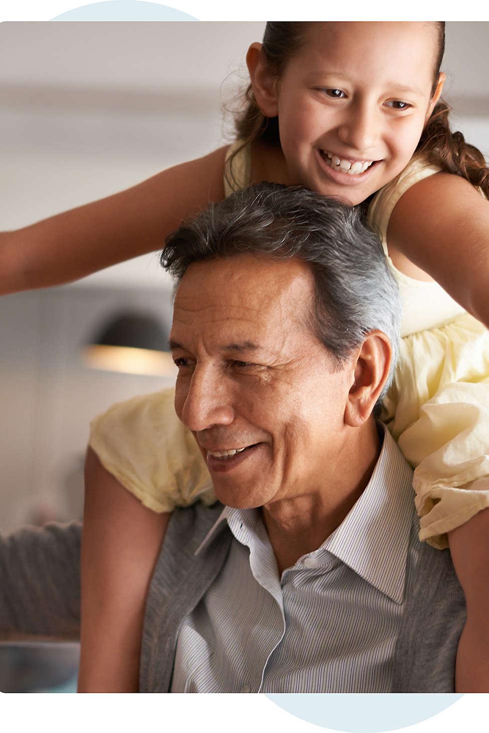 Granddaughter on grandfathers shoulders