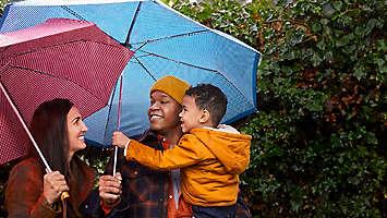 family under umbrella