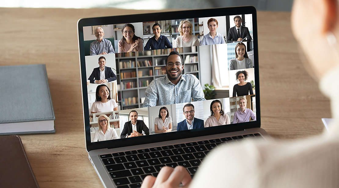 employee remotely connecting via zoom
