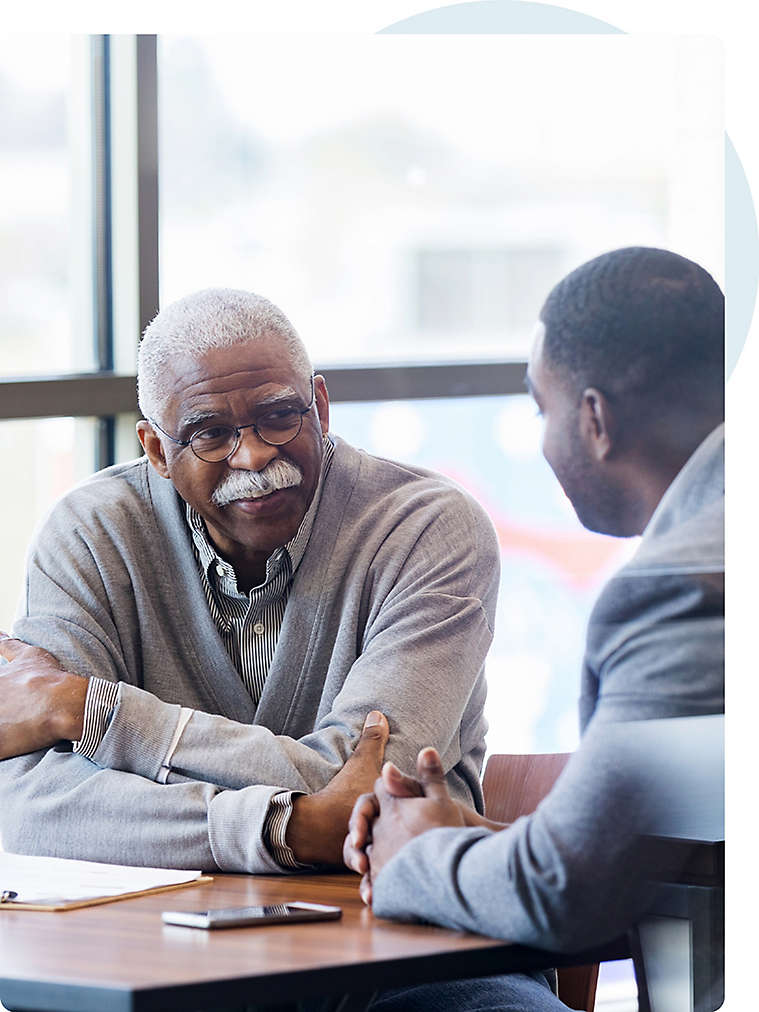 Professional meeting with an older man