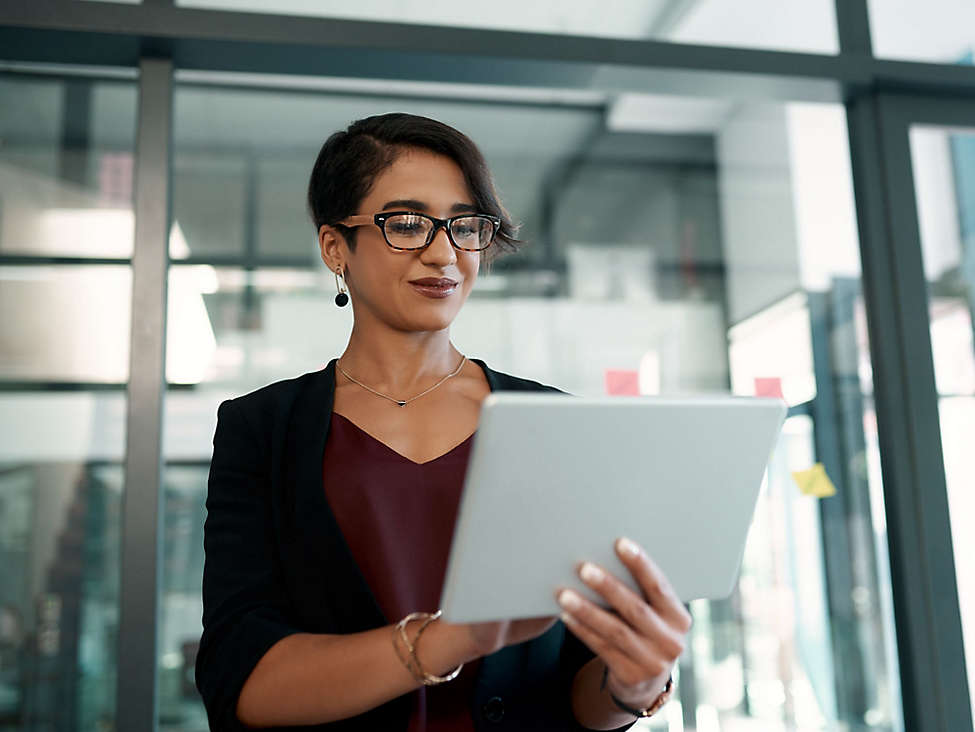 Women working on Tablet