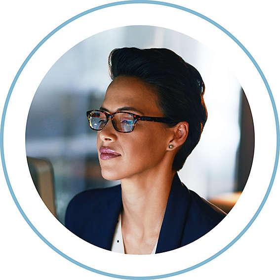 Circular image of a corporate employee
