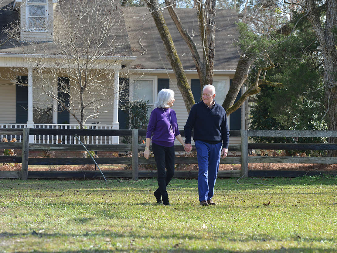 Jill Tigner and Mike Venable taking a walk