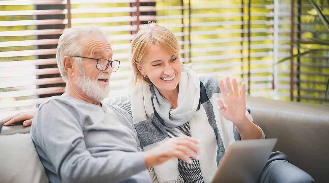 Retired couple using Zoom