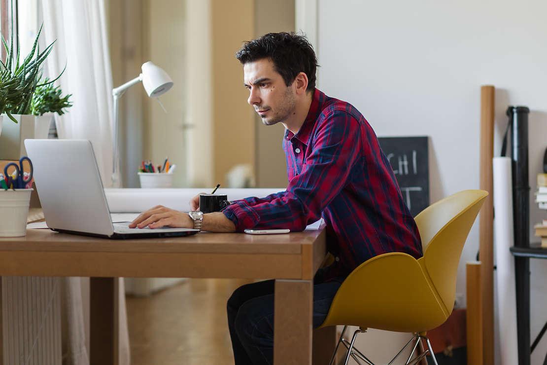 Millennial working in office