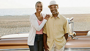 Retied couple on the beach with a classic car