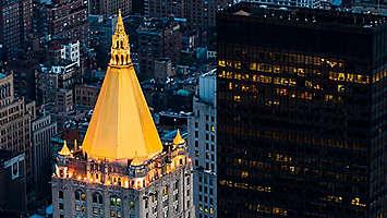 New York Life building at night