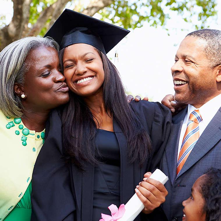 Parents celebrate daughter's college graduation day