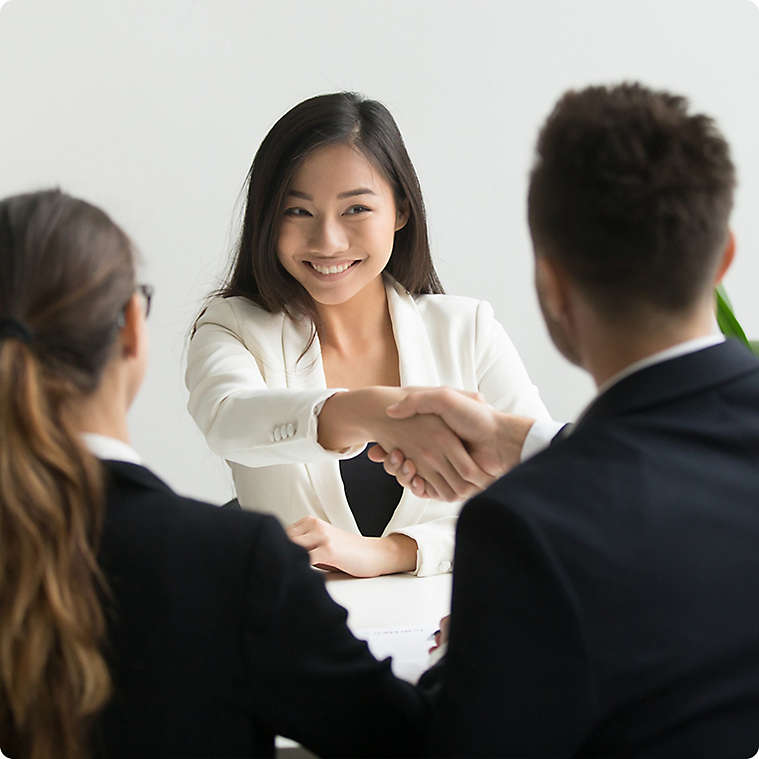 Candidate shaking hands with professional across table