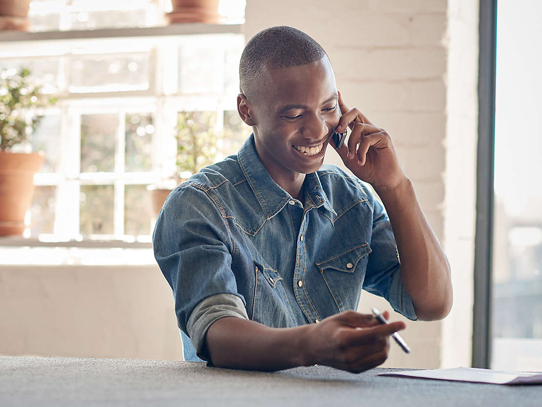 Small business owner on the phone.