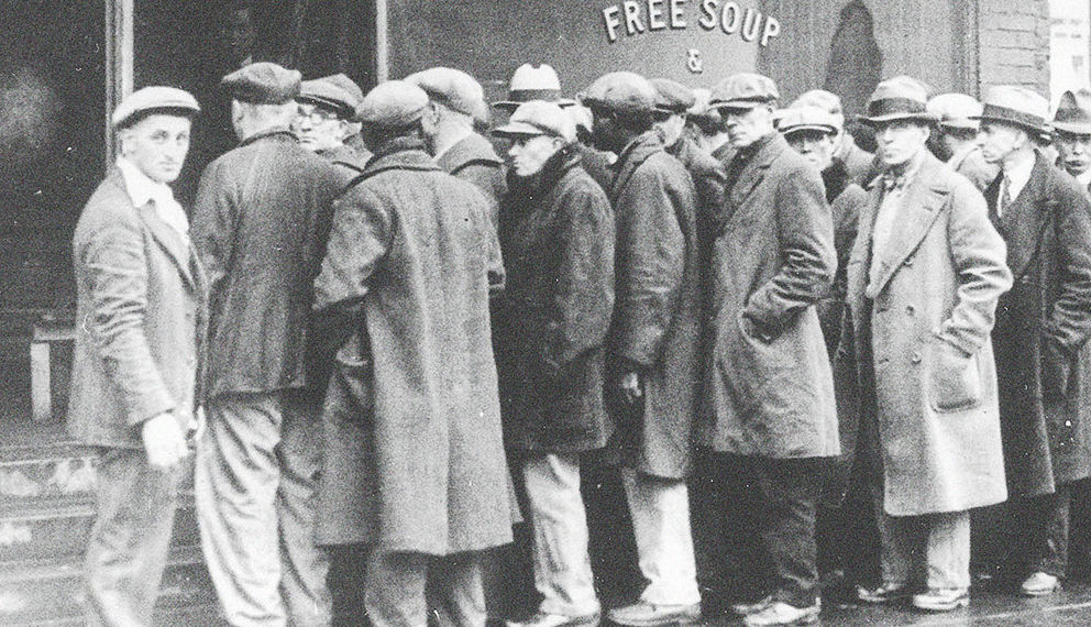 Men on line waiting for food during the great depression