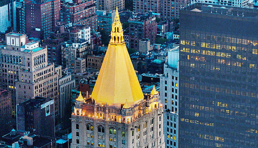 New York Life building in New York City with gold dome.