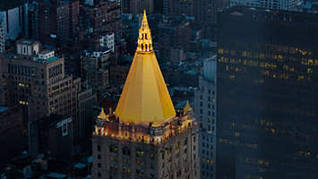 New York Life building in New York City with gold dome