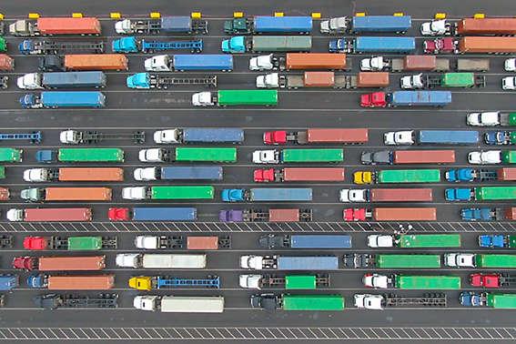 Aerial truck traffic dock California