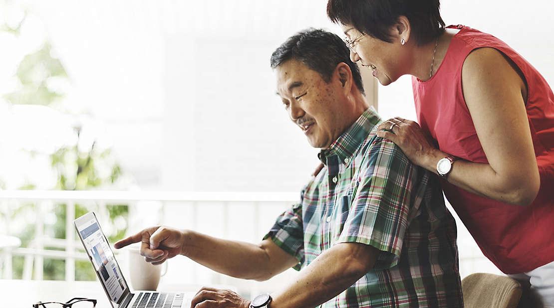 couple checking their computer