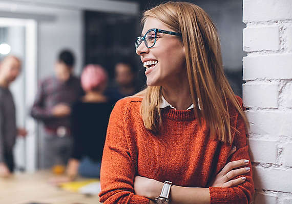 Women smiling in office